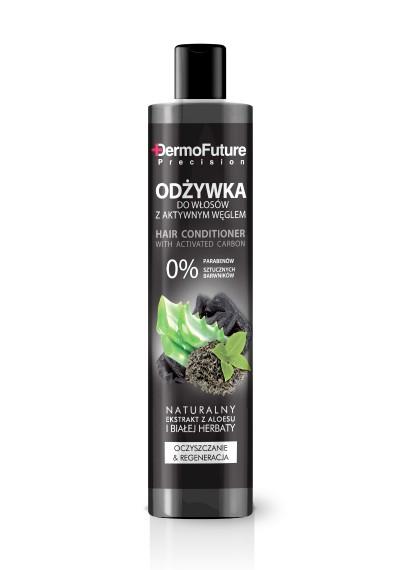 Riebaluotis linkusiems plaukams skirtas kondicionierius su aktyvuota anglimi, 250 ml