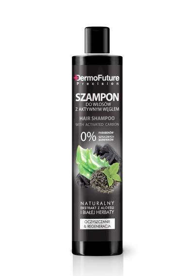Riebaluotis linkusiems plaukams skirtas šampūnas su aktyvuota anglimi, 250ml