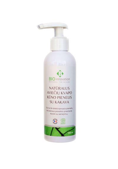 Natūralus Aviečių Kvapo Kūno Pienelis Su Kakava BIO INNOVATION® - 200 ml