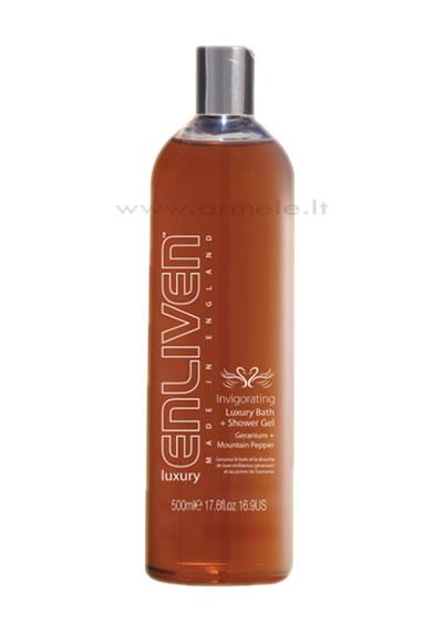ENLIVEN LUXURY vonios ir dušo želė su energijos suteikiančia snapučių ir kalnų pipirų ekstraktais